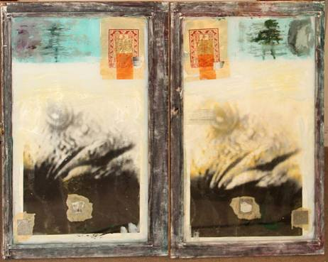 Untitled, 1996 (diptych)   each titled, dated and signed '1996 / Mark Likosky ' (on the reverse)  each oil, gelatin silver print and collage in artist's frame  each approximately 33 1/2 x 21in