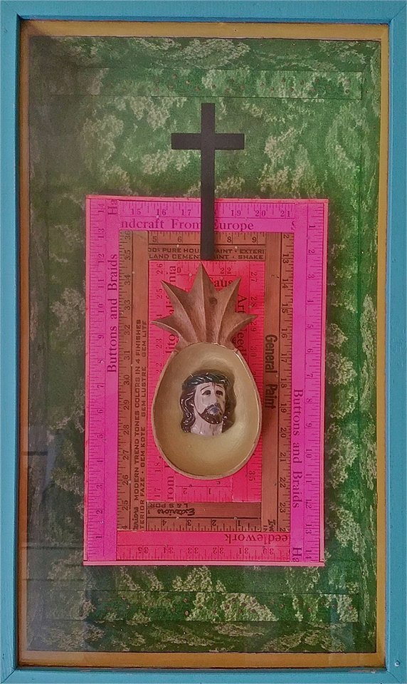 "Artist: Jose Ramon Lerma (1930 - ) American Titled: El Cristo De La Pina  Dated "" 1992, mixed media wall relief Signed and titled verso,  Measures: 25x15 inches  Farhat Art Museum Collection"