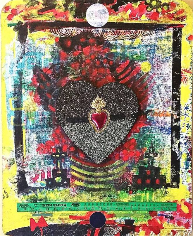 "Lerma (1930 - ) American  Titled: ""Corazon De Noche""  Dated "" 1995, mixed media  Signed and titled verso, ""Corazon De Noche""  Measures: 32x25 inches  Farhat Art Museum Collection"