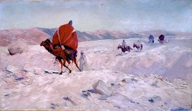 Artist: Ernst Weckerling (1877 - 1917) German  Measures 13x21.75 inches  Signed lower right and dated 1904  Titled: Caravan through the Algerian Desert.  Oil on canvas  Farhat Art Museum Collection.